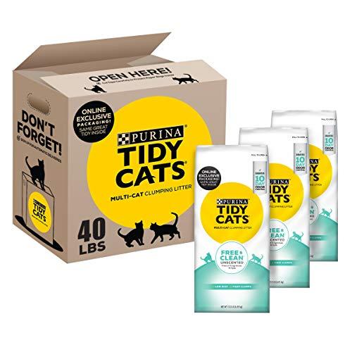 Tidy Cats - Arena para gatos sin perfume, arcilla, libre y limpia, para gatos de arcilla, caja reciclable – (3) cajas de 6 kg