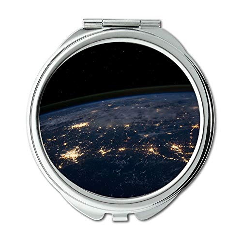 Yanteng Spiegel, Maus Weg konzentrieren träumen Erde, Earth Lights Environment Globus Planet Science Schminkspiegel, Taschenspiegel, Portable Spiegel