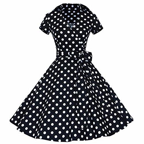 Samtree Womens Polka Dot Dress,Vintage 1950s Style Short Sleeves Rockabilly Dresses(XXL(US 14),Polka Dot Black)