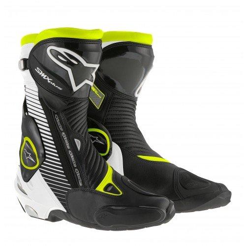 Alpinestars Botas de Moto SMX-Plus 15, Color Blanco, Negro y Amarillo neón, Talla 41