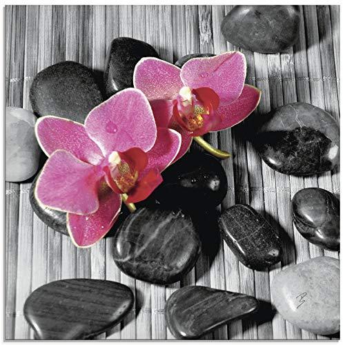 Artland Glasbilder Wandbild Glas Bild einteilig 30x30 cm Quadratisch Asien Zen Wellness Spa Entspannung Blumen Blüten Orchideen Steine S7EH