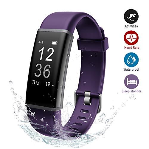 Lintelek IP67 Wasserdicht Schrittzähler, Fitness Tracker mit Pulsmesser Aaktivitätstracker für Damen Kinder Herren(Lila)
