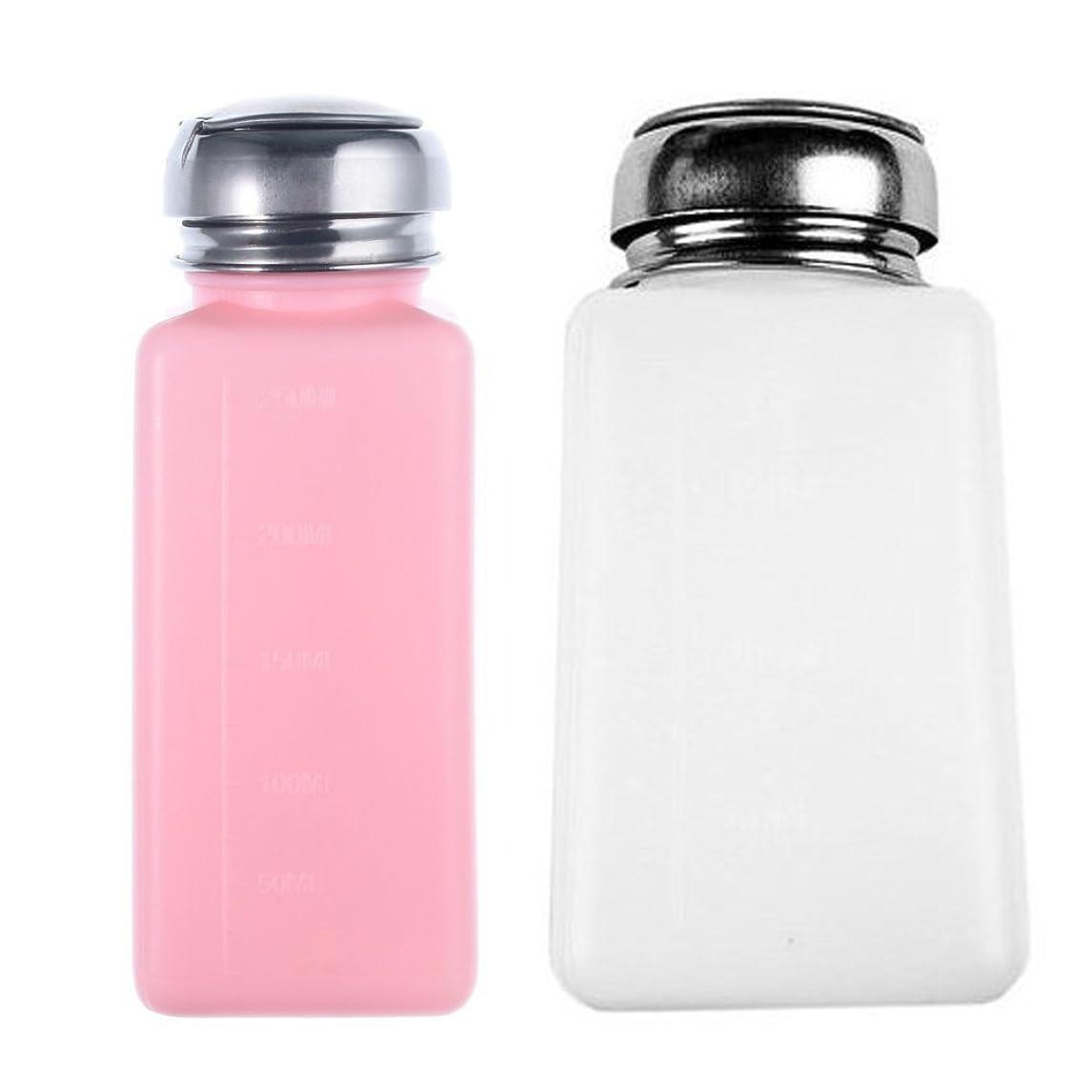 口頭砲撃補足SODIAL 新しい空のポンプディスペンサー ネイルアートポーランドリムーバーの為 ピンクと白のボトル