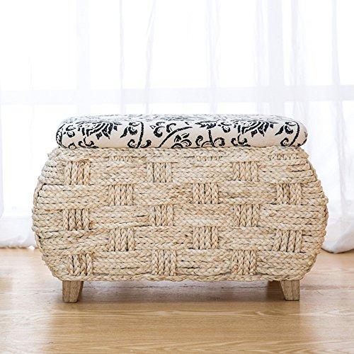 Hocker ZHANGRONG- Natürlicher Strohhocker Maismehl Lagerung Stuhl Tür für Schuhputzer Pastoral Aufbewahrungsbox Lagerung Sofa (Wahlweise freigestellte Größe) -Sofa (größe : L)