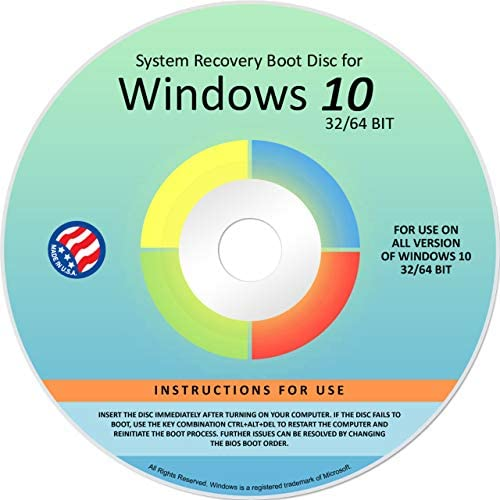 Ralix Reinstall DVD For Windows 10 All Versions 32 64 bit Recover Restore Repair Boot Disc and product image