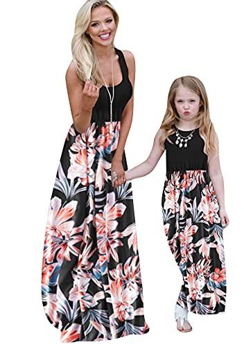 EFOFEI Strand Maxikleid Sommer Sunsuit Blumenmuster Hemdkleid Swing Ballkleider Kinder Sommerkleider Brautkleider Schwarze Blumen 9-10 Jahre