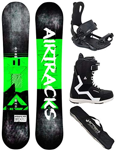Airtracks Snowboard Set/Board Breath Wide Flat Rocker 156 + Snowboard Bindung Master + Boots Strong QL 45 + Sb Bag