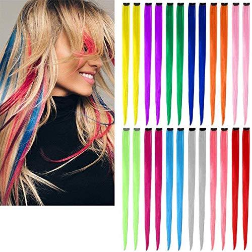 Farbiger Clip in Haarverlängerungen,Rainbow Straight Hair Extensions Clip 21 Zoll mehrfarbige hitzebeständige Highlight-Haarteile Cospaly Fashion Synthetic Hair Extensions für Frauen Mädchen