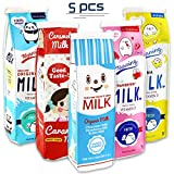 Newbested 5 Pack Creative Milk Cartons Waterproof Pencil Cases Boxes Big Capacity Pencil Holder Pen Pouch Stationery Organizer Cosmetic Bag with Zipper for School, Home, Office Use