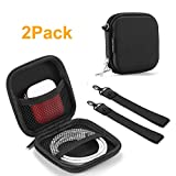 TouchFine (2Pack) Hard Earbud Case for iPod/MP3/Earphones/Usb Cable,2 Mesh Pockets Storage Bags-Black+Wrist Hand Strap