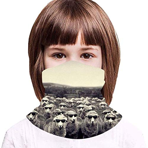 WH-CLA Niños Cuello Gaiter Gafas Oveja Niños Bufanda Facial Durable Sombreros Protección UV Pasamontañas Elástico Cuello Bufanda para Partido Correr Yoga
