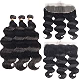 Beaudiva Hair Body Wave Bundles with 13×4 Lace Frontal (16 18 20+16 inch) Unprocessed 8A Brazilian Body Wave Human Hair Double Weft with Lace Frontal 13×4 Free Part…
