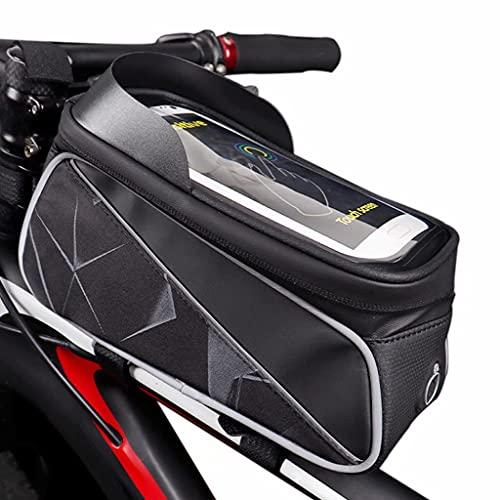 YZX Bolsa Bici, Bicicleta de montaña/Carretera para Exteriores, Bolsa de Tubo Superior para Ciclismo, Bolsa para Manillar de Bicicleta con Pantalla táctil Reflectante Nocturna para teléfono,Gris