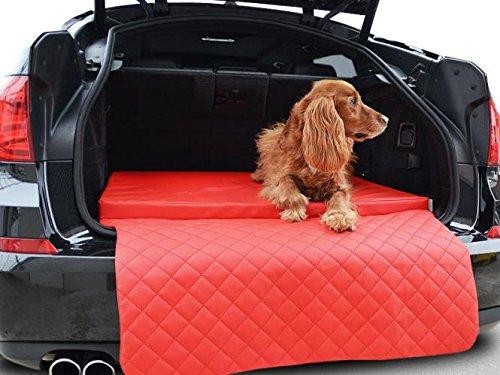 PadsForAll Autohundematte - Kofferraum Schutzdecke - Auto-Hundebett in Rot Kunstleder
