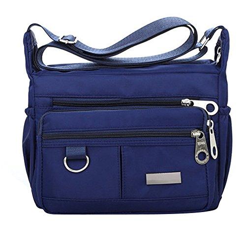 Beikoard Borsa a Tracolla in Nylon Impermeabile con Tracolla in Nylon a Colori Solido Moda Donna(Blu Scuro)