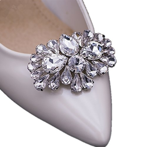 Ruihfas Casualfashion 2Pcs Bling Bling Crystal Rhinestones Wedding Party Prom Shoe Clips Buckles Decorations for Women 1.57×2.44inch White