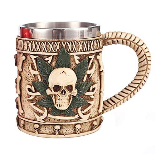 Taza de cerveza de acero inoxidable con diseño de calavera de Viking Warrior, taza de cerveza, taza de vino medieval para café/bebida/zumo (hoja de calavera)