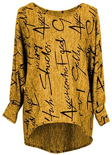 Emma & Giovanni - Pullover/Sweatshirt Oversize- Damen (L, Ocker)