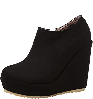 573eb1829abb54 YE Botte Talons Compense Plateforme Bottines Zip à Talon Haut Chaussure  Courtes Chaude Ankle Boots Winter