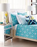 Trina Turk Palm Spring Block 400T Cotton - Solid White w/Turquoise Blue Embroidered Trim - Euro Sham NEW