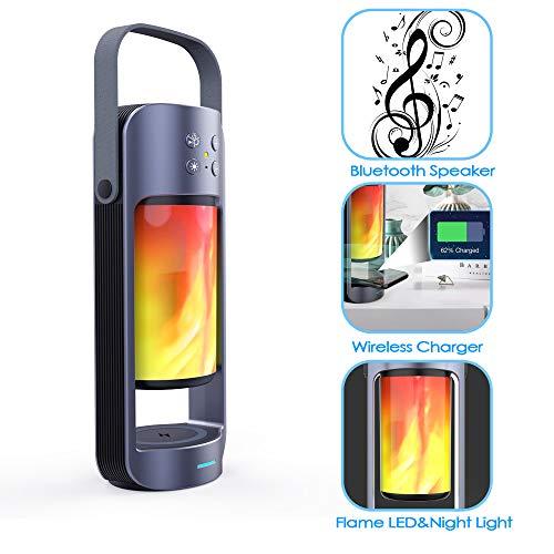 HXWS Led-vlam-luidspreker, draagbare tafellamp, vlam, sfeer, draadloze Bluetooth 4.0-luidspreker, 10 W subwoofer met draadloze charging buiten noodlicht