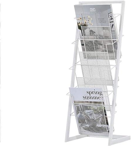 disfrutando de sus compras ZHAS Bookshelf Metal Magazine Rack Soporte de exhibición exhibición exhibición de múltiples Funciones para Racks de periódicos Disponible en Dos Colors (Color  blanco)  compra limitada