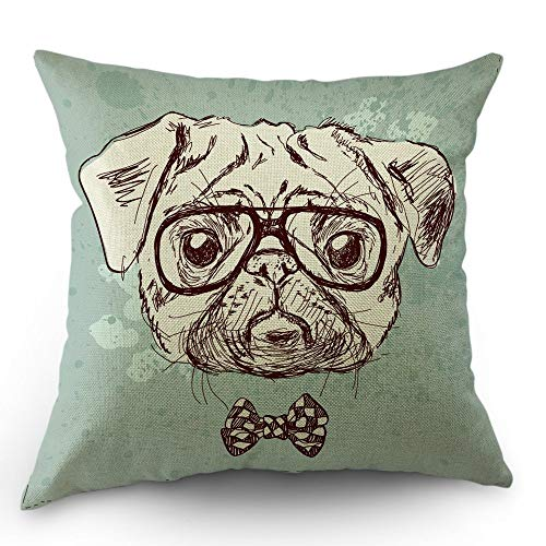 JuMei Dog Pillow Case Bulldog Pillows Cartoon Dachshund Throw Pillow Cover 18 x 18 Inch Cotton Linen Decorative Square Cushion Cover Valentine's Day Sofa Bed