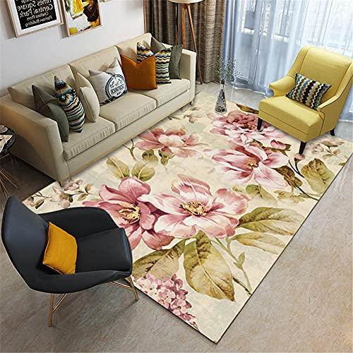 La alfombras alfombras habitacion Alfombra de decoración de Sala de Estar de patrón de Hoja Floral Doodle Hermoso Verde Rosa dormitorios Juveniles 50*80cm