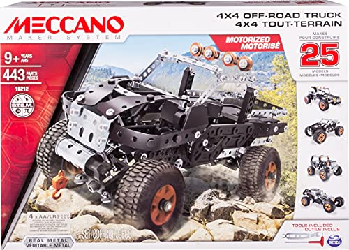 Meccano by Erector, 4x4 Off-Road Truck 25 Model Building Set, 443 Pieces, STEM Engineering Education Toy for Ages 9 and up
