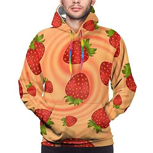 QUEMIN Herren Kapuzenpullover Strawberry Smooth Cream Swirl Pullover Hoodie Langarmshirts Casual Top mit Taschen M