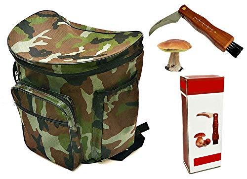Coltello + Zaino con cesta in vimini porta funghi militare gerla cesto mimetico raccolta funghi cm. 41x28,5 x38,5h