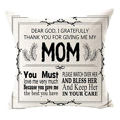 to My Mother Dear God I Gratefully Thank You for Giving Me My Mom Blessing Gift Cotton Linen Square Throw Waist Pillow Case Decorative Cushion Cover Pillowcase Sofa 18'x 18'