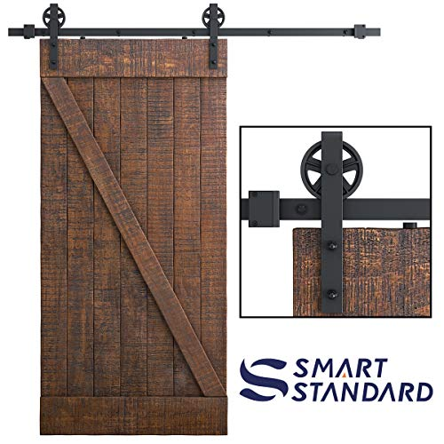 SMARTSTANDARD 6.6 FT Heavy Duty Sliding Barn Door Hardware Kit, Single Rail, Black, Super Smoothly and Quietly, Simple and Easy to Install, Fit 36'-40' Wide DoorPanel (Industrial Bigwheel Hangers)