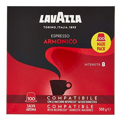 Lavazza Armonico Dark Roast Coffee Capsules Compatible with Nespresso Original Machines (Pack of 100)