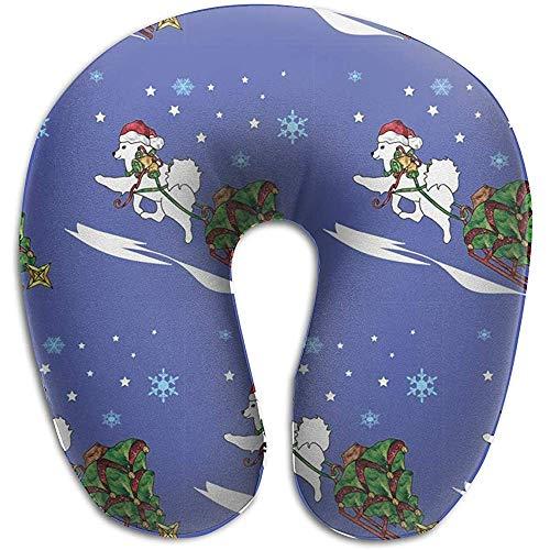 LisaArticles U-vormige kussen, kerstboom samoyed brengen hals kussens decoratieve hals kussen voor vliegtuigen reizen rust