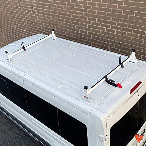 "Ford Transit (Cargo) 2015-On 2 bar Rack Low Profile 54"" Bars Steel White"