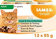 Iams Delights Wet Food Land and Sea Collection with Meat and Fish in Gravy, 12 x 85g