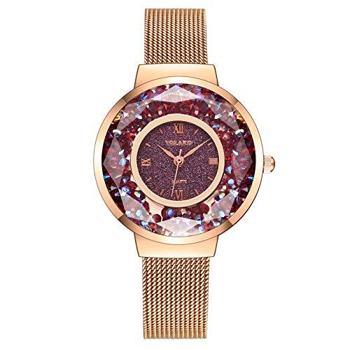 Powzz ornamento, orologio al quarzo da donna con cinturino in rete e cinturino in maglia metallica braccialetto Red Disk - Cintura in oro rosa