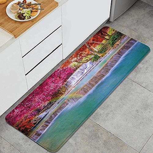 MJIAX Küchenteppich,Landschaft Vietnam Regenwald drucken, Rutschfester Teppich mit Rückwandmatte für Küchenfußmatten-Läuferteppich 47,2 x 17,7 Zoll