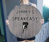 Retro Speakeasy Downstairs Basement Enterance - Man Cave Sign Barnwood Gray Wall Decor Whiskey Barrel Lid
