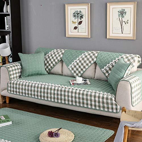 YUTJK Cojín de Sofá Universal de Cuatro Estaciones,Cojín de Protección de Sofá,Funda de Asiento de Tela,Cubierta de cojín de sofá Acolchado de algodón-Verde_45×45cm(Cubierta de Almohada)