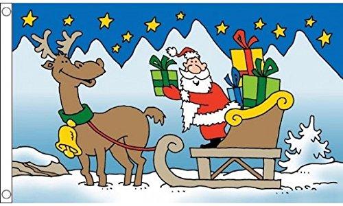 UKFlagShop 5ft x 3ft (150x 90cm) Santa Schlitten und Rentier Weihnachtsmann Cartoon 100% Polyester Material Flagge Banner Ideal für Pub Club Schule Festival Business Party Dekoration