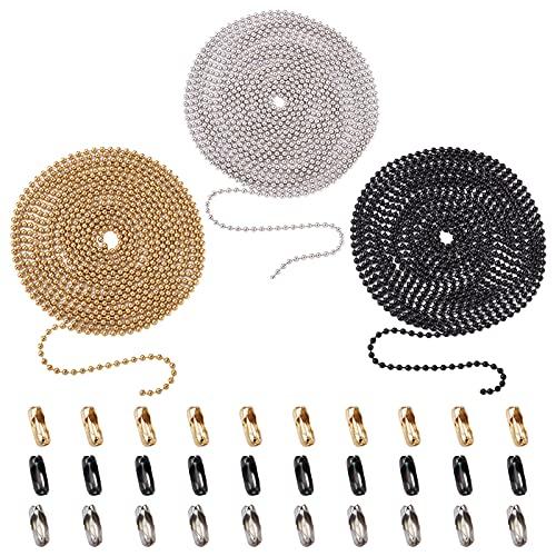 Beadthoven - Cadena de bolas de acero inoxidable de 2,4 mm con cadena de cuentas de bola de 32 pies y 50 conectores a juego para hacer joyas, 3 colores