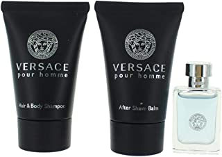 Versace Pour Homme by Versace Gift Set - .17 oz Mini EDT + .8 oz After Shave Balm + .8 oz Hair + Body Shampoo