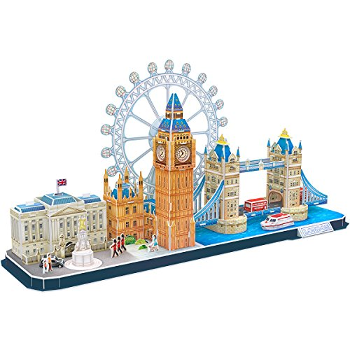CubicFun 3D Puzzle UK London CityLine - Tower Bridge, Big Ben, Buckingham Palace, London Eye, Queen Victoria Monument, Gebäudemodell Kits Geschenk und Souvenir für Erwachsene und Kinder, 187 Stück