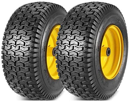 2 Pcs 16x6 50 8 Front Tires and Wheels Assembly for Lawn Mower Tractors 3 Offset Long Hub with product image