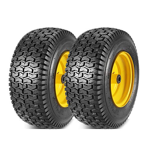 """2 Pcs 16x6.50-8 Front Tires and Wheels Assembly for Lawn Mower Tractors, 3"""" Offset Long Hub with 3/4""""bearings"""