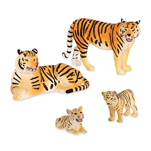 Terra by Battat – Tiger Family - Toy Tiger Safari Animals for Kids 3-Years-Old & Up (4Pc)