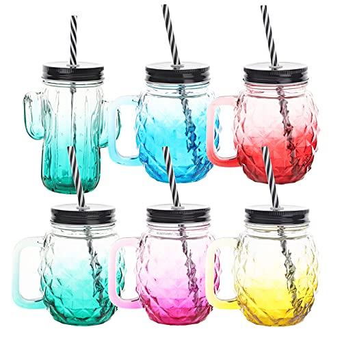 6 piezas Tarros de cristal de cóctel 500ml Tarros para beber de...