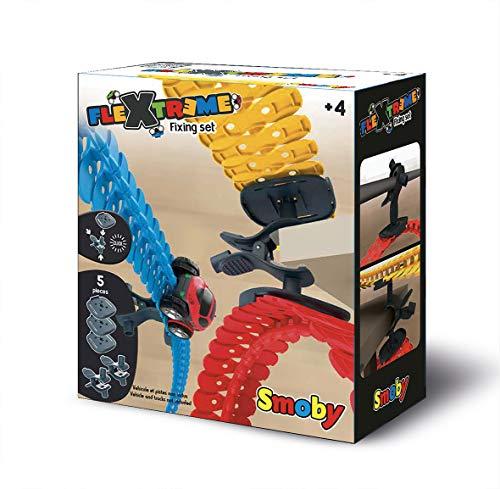 Smoby - FleXtreme Fixing Set - Befestigungssatz für die Smoby FleXtreme Rennbahn-Spielwelt, Erweiterung für Rennbahnen, für Kinder ab 4 Jahren, flexible Strecke mit Fahren-über-Kopf-Funktion